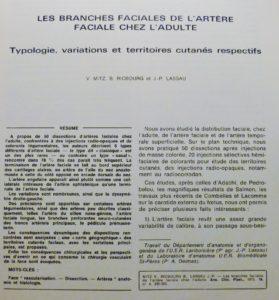artère faciale , travail de 1973